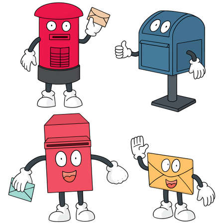 vector set of postbox cartoon Illustration