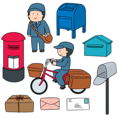 vector set of postman and postbox