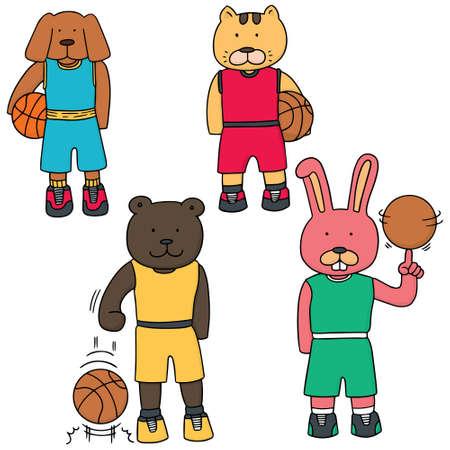 vector set of animal in basketball uniform