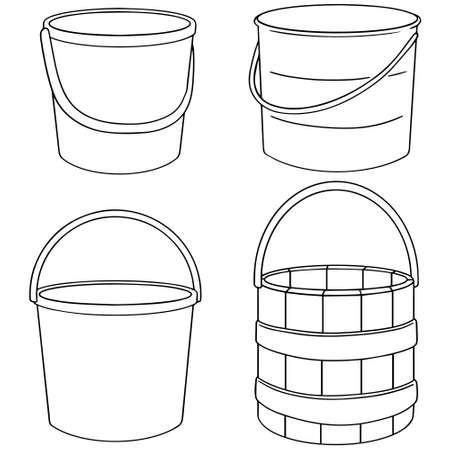 cartoon wood bucket: vector set of bucket