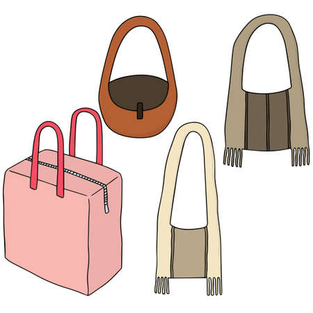vector set of bags Illustration
