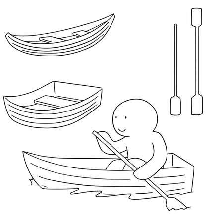 rowboat: vector set of boat