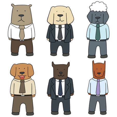 vector set of dog wearing clothes