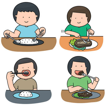 vector set of man eating Illustration