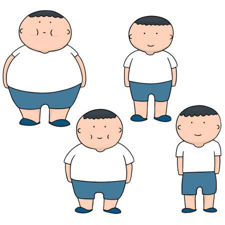 vector set of man from fat to slim Illustration