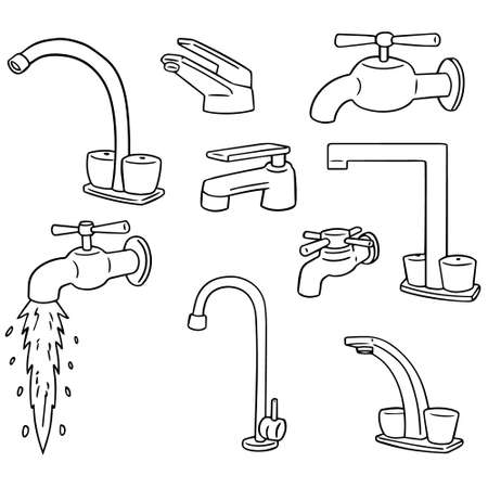 vector set of faucet Çizim