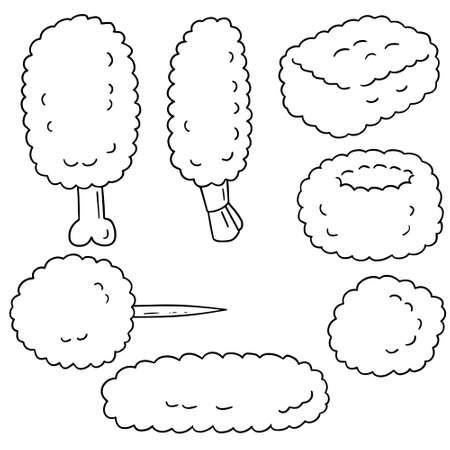 fried: vector set of fried food