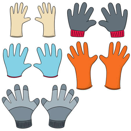 surgical glove: vector set of gloves