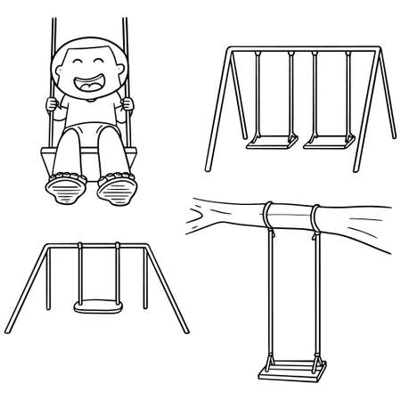 child holding sign: vector set of swing