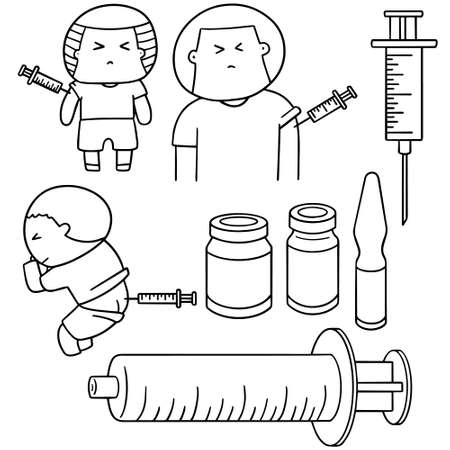 subcutaneous: vector set of injection medicine