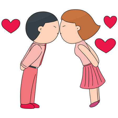 vector set of man and woman kissing