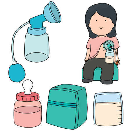 vector set of manual breast pump Vettoriali