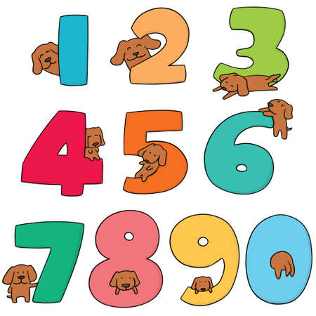 vector set of number and dog
