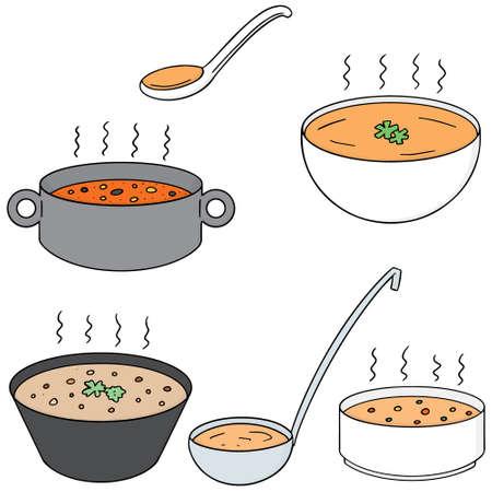 vector set of soup