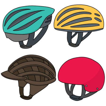 cycling helmet: vector set of bicycle helmet