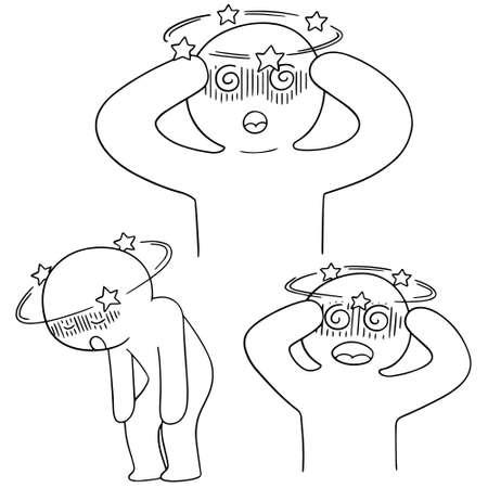 vector set of man got dizziness