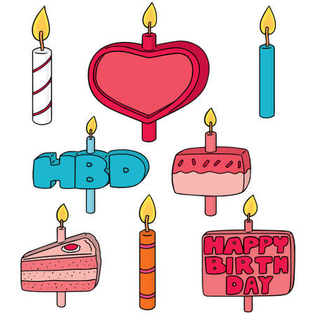 illustrating: vector set of birthday candle