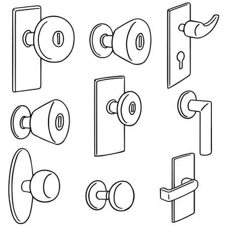 handle: vector set of door knob Illustration
