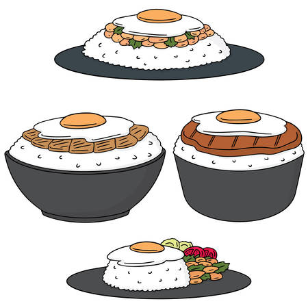 vector set of food with fried egg