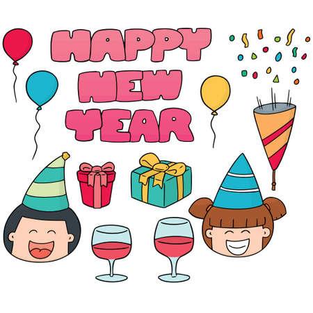 new year celebration: vector set of new year celebration