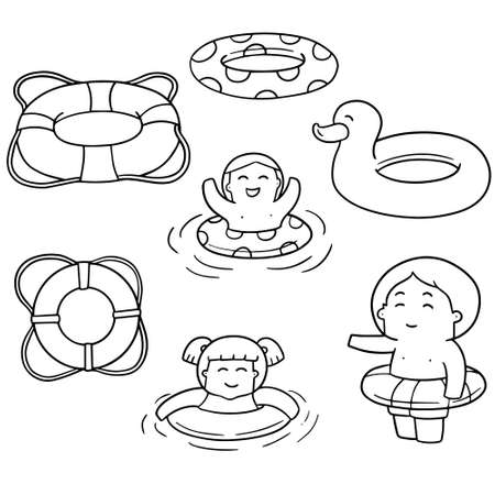 vector set of life ring  イラスト・ベクター素材