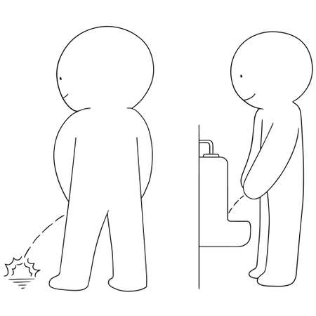 indecent: set of man peeing Illustration