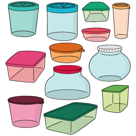 conveniently: set of plastic container Illustration