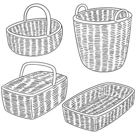 wicker: set of wicker basket
