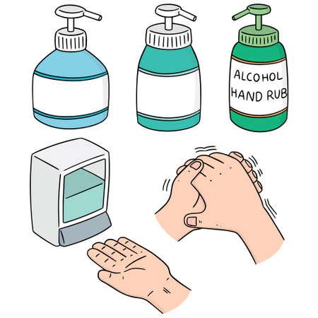 vector set of alcohol hand rub