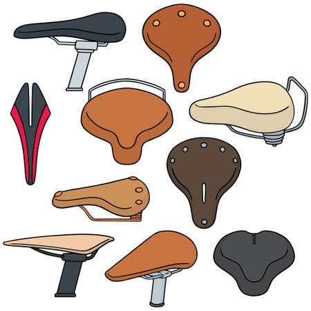 fixed line: vector set of bicycle saddle