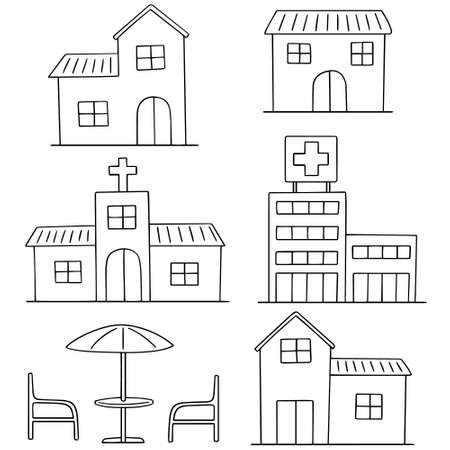 cartoon umbrella: vector set of building