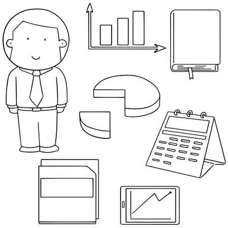 vector set of businessman and business icon Ilustração