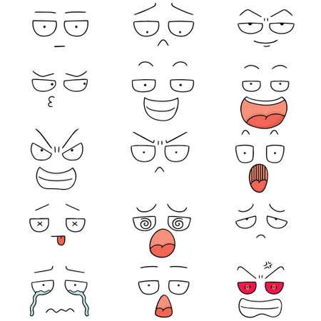vector set of cartoon face Illustration