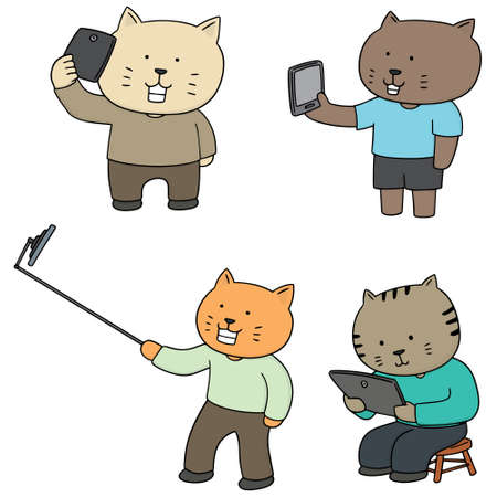 hand touch: vector set of smartphone addicted cat
