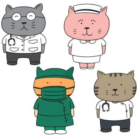 chirurgo: vector set of cat in medical staff uniform Vettoriali