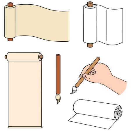 illustrates: vector set of scroll and brush Illustration