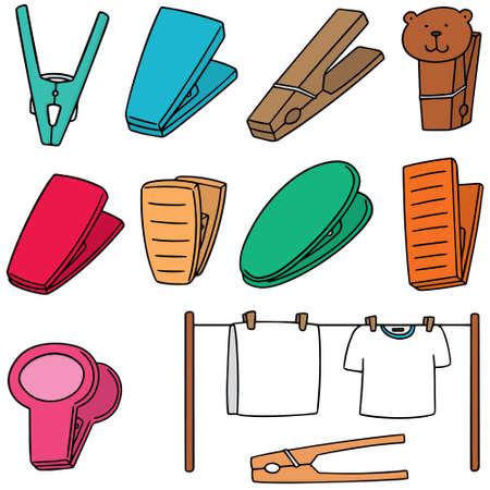 vector set of clothespin