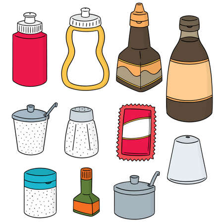 Vector set of condiment bottle  イラスト・ベクター素材