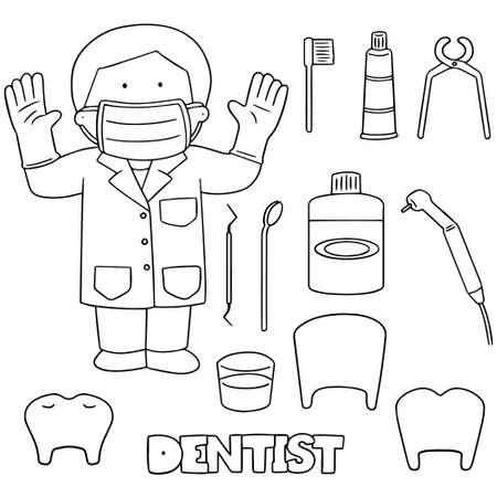 mirror image: Vector set of dentist