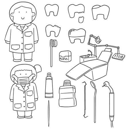 medical illustration: Vector set of dentist and tooth care set Illustration