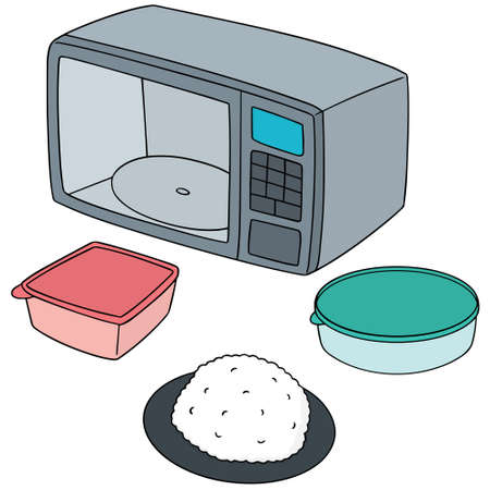 appliances: vector set of microwave oven