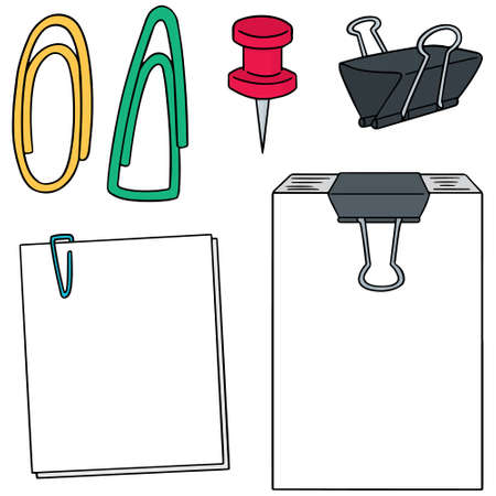 fastener: vector set of paper clip