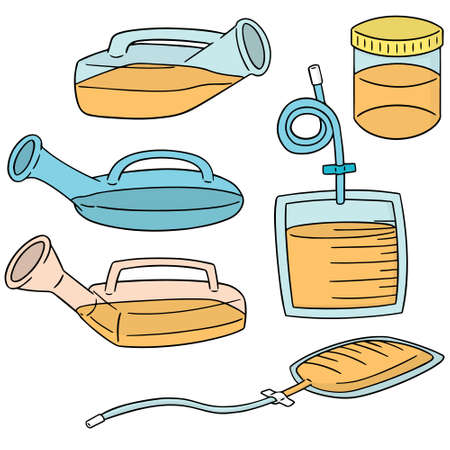vector set of urinal pot and urine bag Illustration