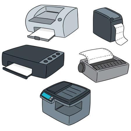wektor zestaw drukarki Ilustracje wektorowe
