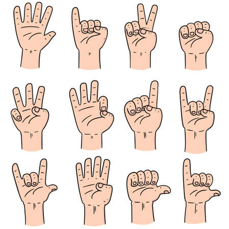 cute guy: vector set of cartoon hand Illustration