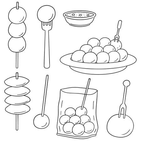 ensemble de vecteur de boulette de viande, boule de poisson, boule de porc et balle de crevettes Vecteurs