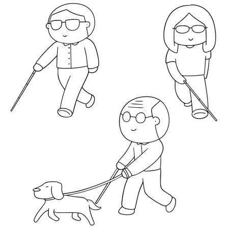 cute cartoon: vector set of blind people