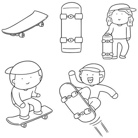 fitness equipment: vector set of man play skateboard Illustration
