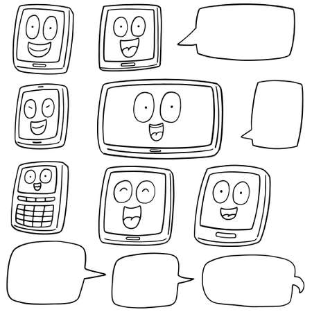 smartphone icon: vector set of smartphone and tablet cartoon Illustration