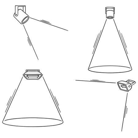 vector set van schijnwerpers Stock Illustratie